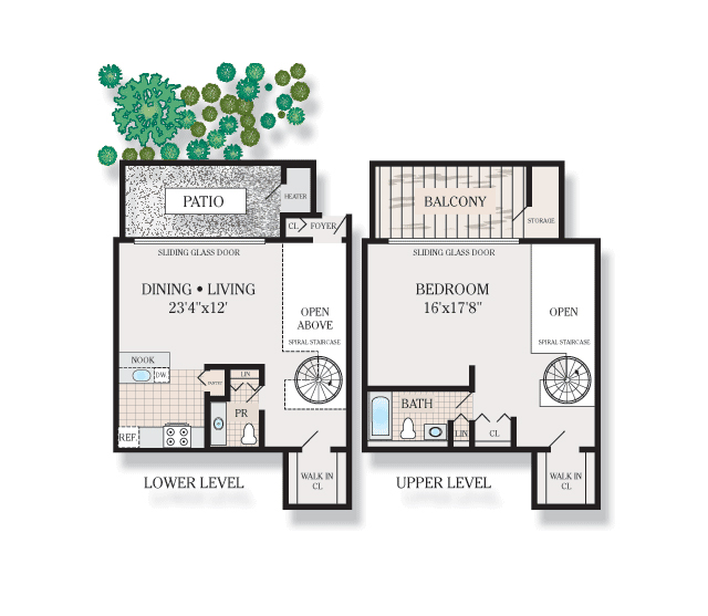 1 Bedroom 1.5 Bath Spiral Loft 1A. 825 Sq. Ft.