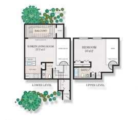 1 bedroom 1.5 bath Spiral loft 2A. 825 sq. ft.