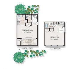1 bedroom 1.5 bath Spiral loft 4A. 825 sq. ft.