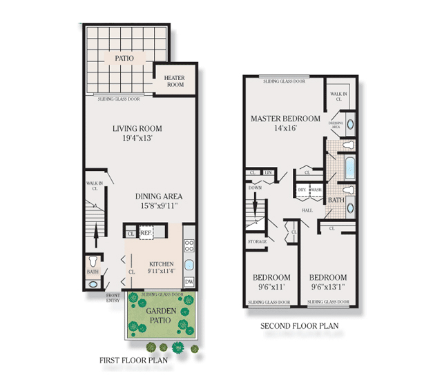 Floor plans for 2 bedroom townhouse for 2 bedroom townhouse plans